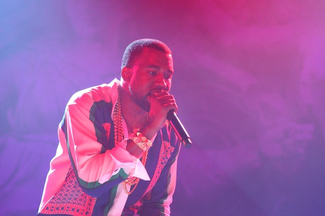 GOLD COAST, AUSTRALIA - JANUARY 22:  Kanye West performs on stage as part of Big Day Out Festival at the Gold Coast Parklands on January 22, 2012 in Gold Coast, Australia.  (Photo by Chris Hyde/Getty Images)